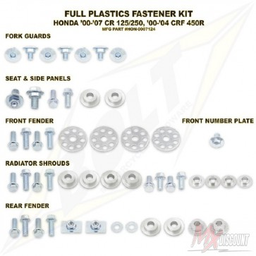 Bolt Full Plastic Bevestigings Kit cr 125 250 00-08 crf450 00-04