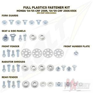 Bolt Full Plastic Bevestigings Kit crf 250 04-05 crfx 250 450 04-15
