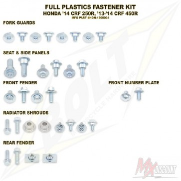 Bolt Full Plastic Bevestigings Kit crf 250 14-17 450 13-16