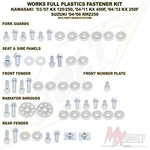 Bolt Full Plastic Bevestigings Kit kx125 250 04-08 kxf250 04-12 450 06-11