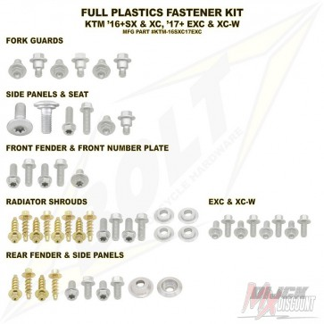 Bolt Full Plastic Bevestigings Kit sx sxf 16-18 sx250 17-18 exc excf 17-19
