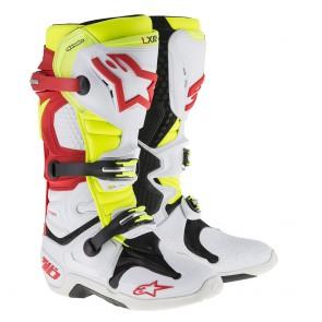 Alpinestars Tech 10 Fluor Geel, Wit, Rood crosslaarzen